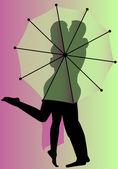Umbrella Kiss — Stock Vector