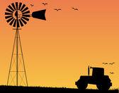 Farm Sunset — Stock Vector