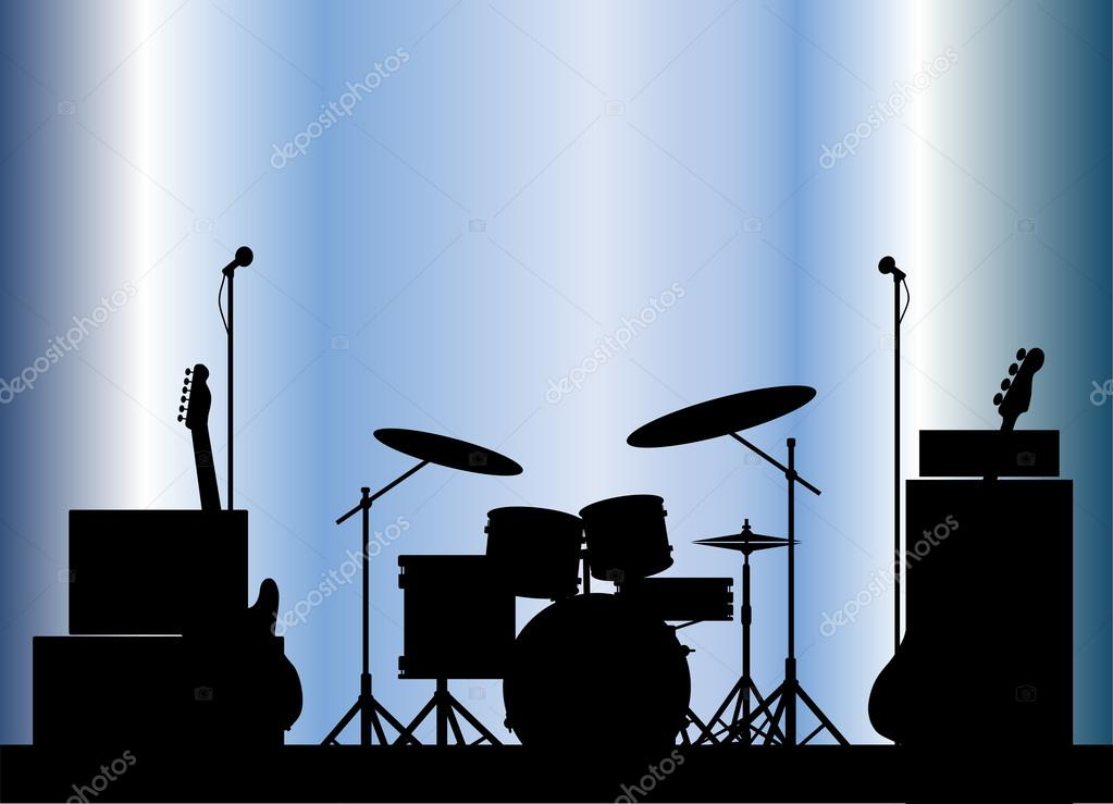Rock Band Equipment — Stock Vector © BigAlBaloo #44759681 Rock Band Silhouette