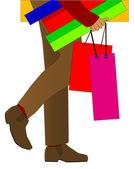 Hombre de compras — Vector de stock
