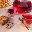 Flower tea with  raisin cookies and raspberry jam — Stock Photo #43693399