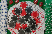 Poker, royal flush and gambling chips — Stockfoto