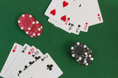 Poker, royal flush and gambling chips — Stock fotografie