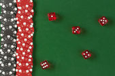 Gambling chips and dice  background — Stock Photo