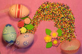 Easter eggs composition — Stock Photo