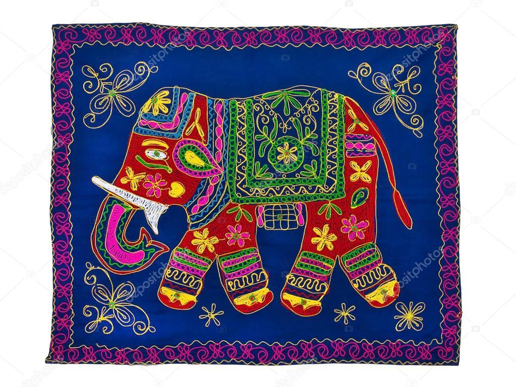 Traditional Indian Elephant Motifs Motif de la broderie t...