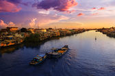Sunset over the mekong river — Stock Photo