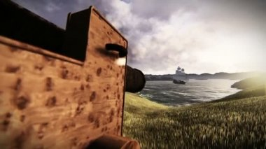 Cannon targeting a caravel — Stock Video
