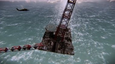 Oil rig sinking — Stock Video