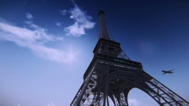Airplane flying over the Eiffel Tower — Stock Video