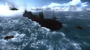 Sinking of an oil tanker — Stock Video