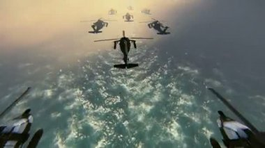 Helicopters in formation — Stock Video