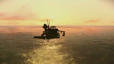 Helicopter flying over the ocean — Stock Video