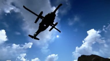 Helicopter flying over mountains — Stock Video