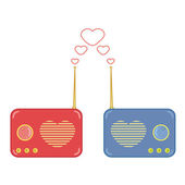Pretty pink and blue radio with heart — Vector de stock