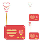 Pretty pink radio with heart — Vector de stock