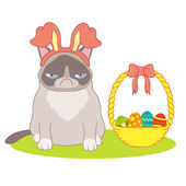 Easter card with a basket and a cat — Stock Vector