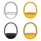 Set of wicker baskets on a white background — Stock Vector