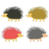 Cartoon Vector Illustration of Cute Hedgehogs Wild Mammal Set — Stock Vector