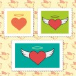 Set of Valentine's Day Postage Stamps — Stock Vector #43797981