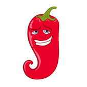 Smiling Red Chili Pepper Cartoon Mascot Character — Stock Vector