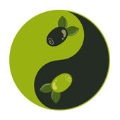Yin yang pattern with olive inside — Vecteur