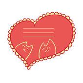 Mall för texten i form av hjärta med katter inne. — Stockvektor