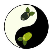 Yin yang pattern with olive inside — Stock Vector