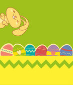 Easter card with cute bunny, brighter colors colorful — Stock Vector