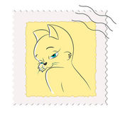 Postage stamp with a picture of a cat — Stock Vector
