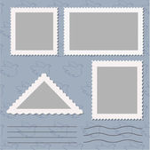Vector set of blank postage stamps isolated on grey — Stock Vector