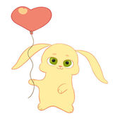 Bunny with heart balloon — Stock Vector