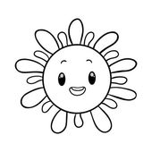 Funny sun coloring book — Stock Vector