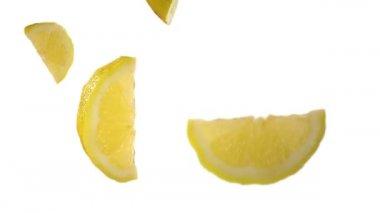 Falling lemons in the studio — Stock Video