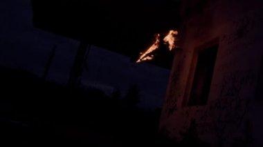 Skateboard on fire — Stock Video