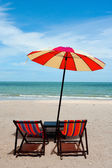 Recline chair on the beach — Stock Photo