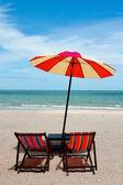Recline chair on the beach — Stock Photo