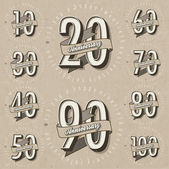 Retro vintage style big reductions signs collection and other promotion labels design. — 图库矢量图片