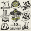 Vintage style 10 anniversary collection. — Stock Vector #47939957