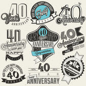 Vintage style 40 anniversary collection. — Stock Vector