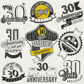 Vintage style 30 anniversary collection. — Stock Vector