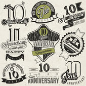 Vintage style 10 anniversary collection. — Stock Vector