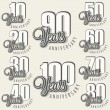 Anniversary sign collection and cards design in retro style. — Stock Vector #47946175