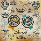 Conjunto de símbolos para melhor qualidade de marca original, produto novo, dinheiro de volta. — Vetorial Stock