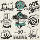 Vintage style 60th anniversary collection. — Stock Vector