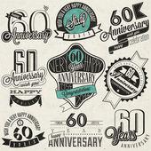 Vintage stijl 60ste verjaardag collectie. — Stockvector