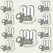 Anniversary sign collection and cards design in retro style. — Stock Vector