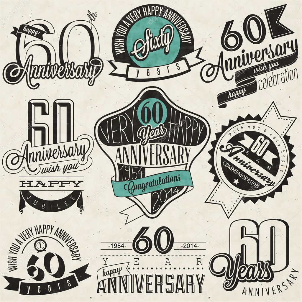 Vintage style 60th anniversary collection stock vector for 60 wedding anniversary symbol
