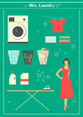 Retro laundry set — Stockvector