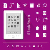Electronic book (e-book) reader. Icons. — Stok Vektör